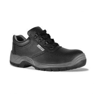 Sapatos em preto com palmilhas em aço e sola resistente ao calor e óleos