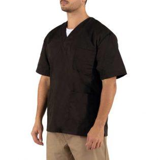 Túnicas de manga curta com dois bolsos frontais e um bolso no peito do lado esquerdo