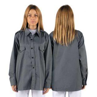 Camisa de sarja com bolsos com colarinho sem botões e dois bolso no peito