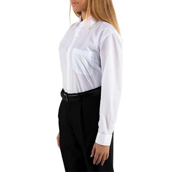Camisas de manga comprida com colarinho sem botões, bolso no peito e punhos com botões