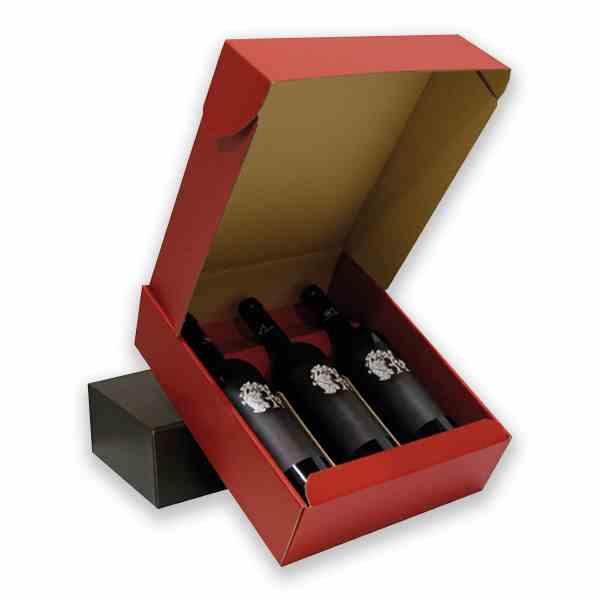 Caixa para garrafas com acabamento original em cartão microcanelado