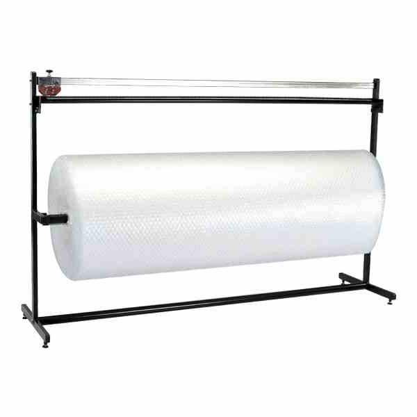 Prático suporte que permite a colocação e corte transversal de rolos de espuma, bolha de ar, papel e TNT