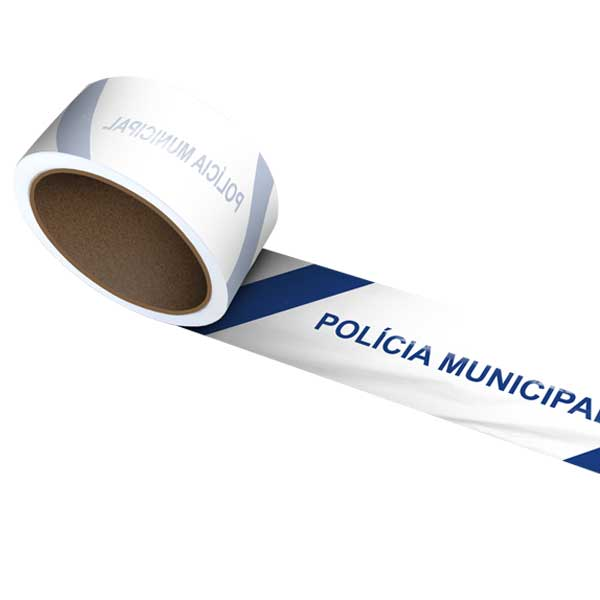 A fita sinalizadora polícia municipal é utilizada para a marcação de áreas de risco
