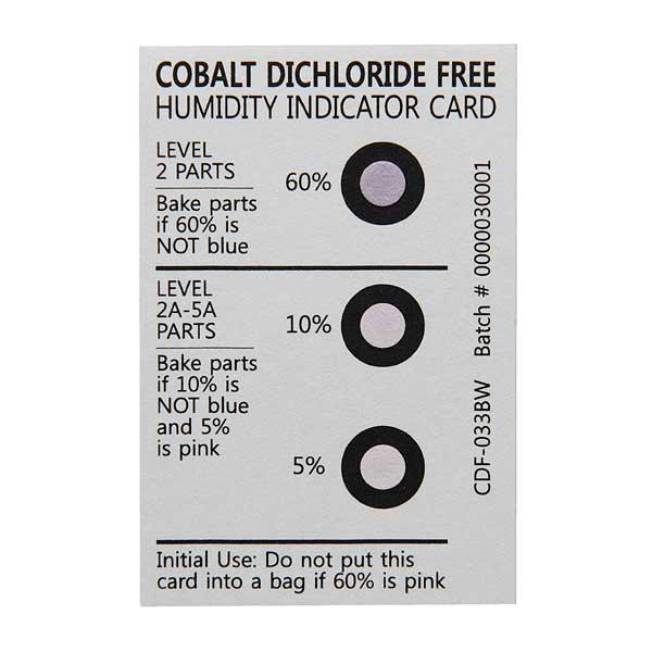O indicador de humidade é utilizado para controlar a segurança das embalagens, indicando a humidade dentro da embalagem para controlo dos produtos