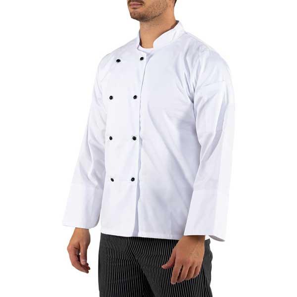 Jalecas de manga comprida unissexo em sarja estão disponíveis em branco e preto