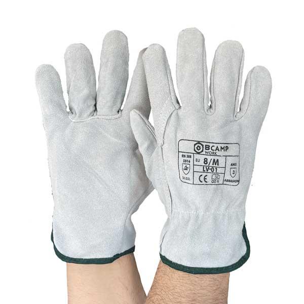 Luvas com ajuste elástico e estão disponíveis em cinza claro