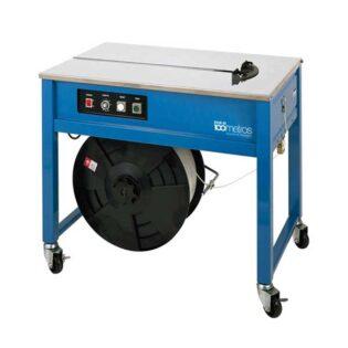 A máquina de cintar semiautomática de mesa possui uma cabeça para tencionar e soldar