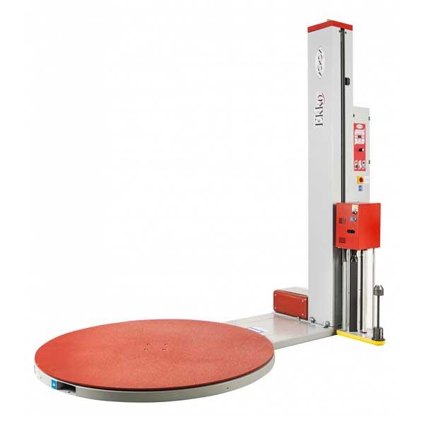 Máquina semiautomática de plataforma giratória para a embalagem de paletes com filme estirável