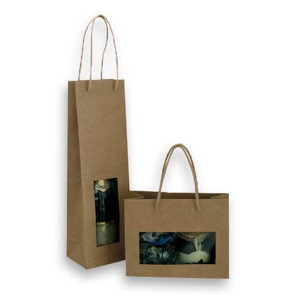 Sacos de papel com janela de acetato, ideal para o transporte de garrafas