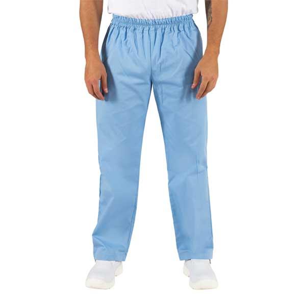 Calças com corte direito em sarja estão disponíveis em várias cores e elástico na cintura