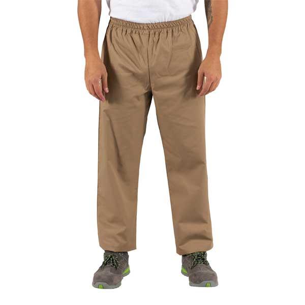 Calças em sarja em várias cores com elástico na cintura