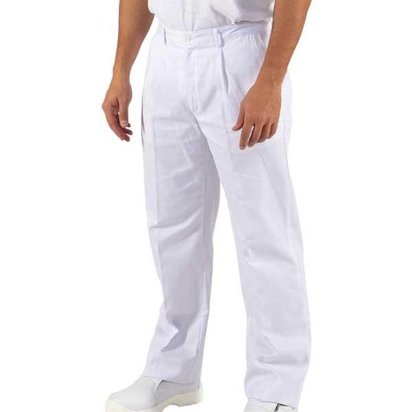 Calças com bolsos laterais e ajuste com fecho e botão