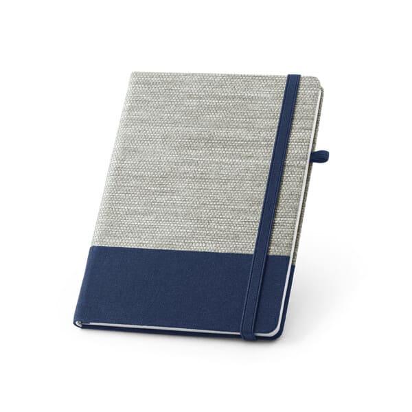 Bloco de notas A5 com capa rígida e cantos redondos em palha e algodão canvas