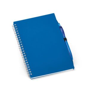 Bloco de notas espiral A5 com capa em PP semi-rígido, 140 páginas pautadas e suporte para esferográfica