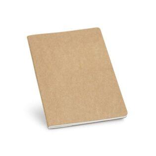 Bloco de notas A5 com 80 páginas pautadas de papel reciclado e capa em cartão com bolso interior