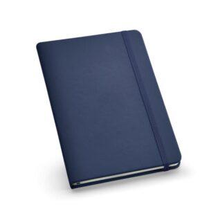 Bloco de notas A5 com 160 páginas lisas, capa rígida em imitação de pele, fita separadora e elástico