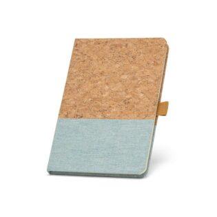 Bloco de notas A5 com capa rígida em cortiça e linho na parte inferior da capa