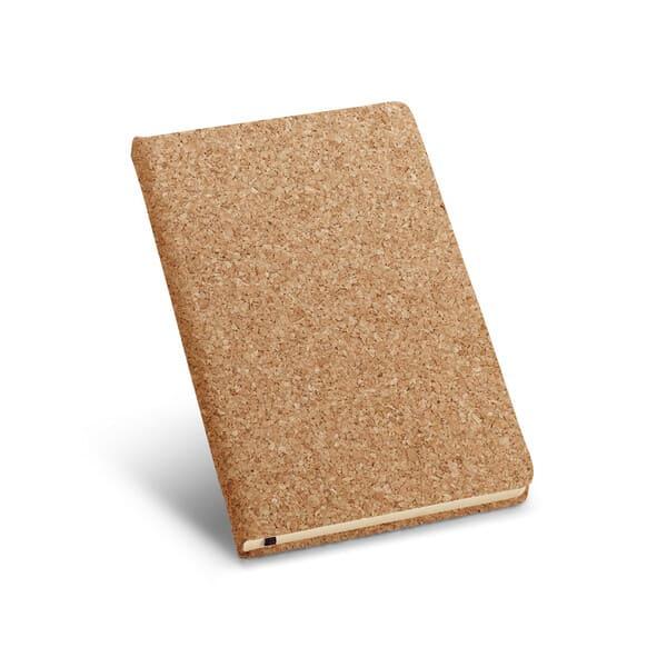 Bloco de notas A5 em cortiça, com 160 páginas lisas de cor marfim e fita separadora