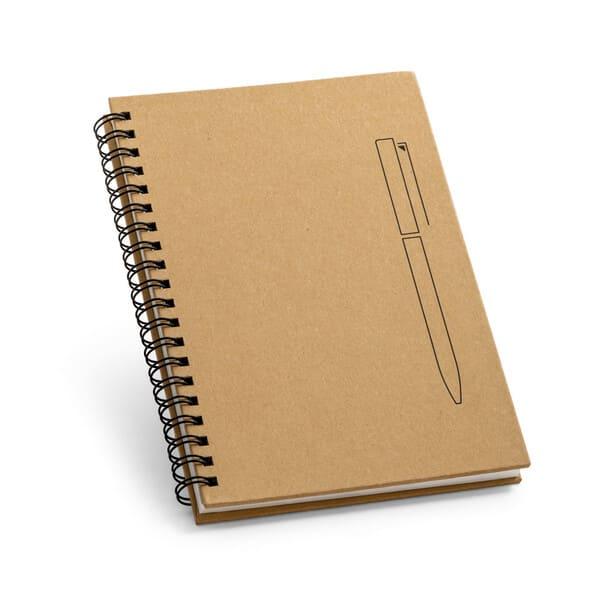Blocos de notas B6 espiral com capa rígida em papel kraft e 140 páginas lisas em papel pedra de 120g/m²