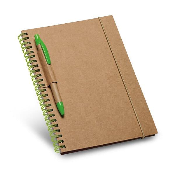 Contém 120 páginas pautadas de papel reciclado e capa rígida