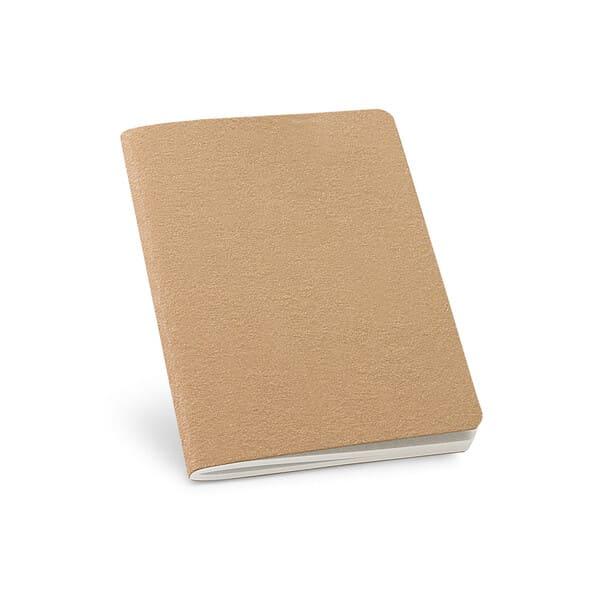 Bloco de notas B7 com 60 páginas lisas de papel reciclado e capa em cartão