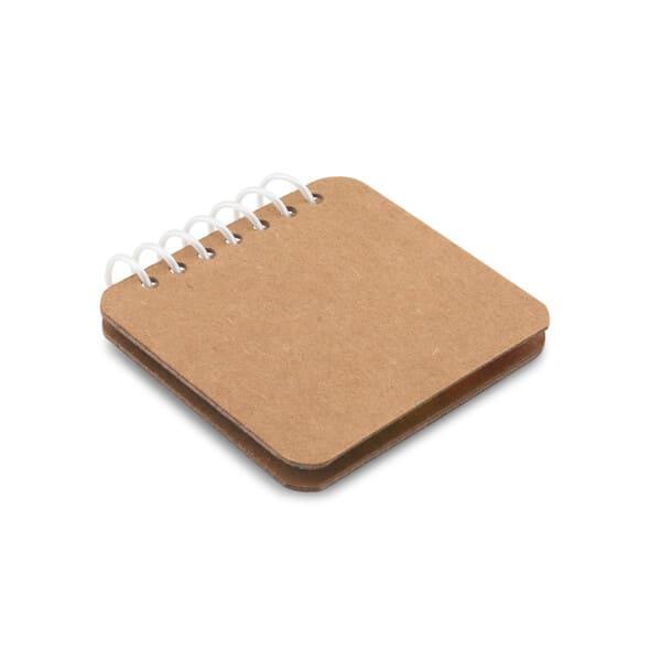 Bloco de notas adesivas espiral, com 6 conjuntos (25 folhas cada conjunto) e capa em papel kraft