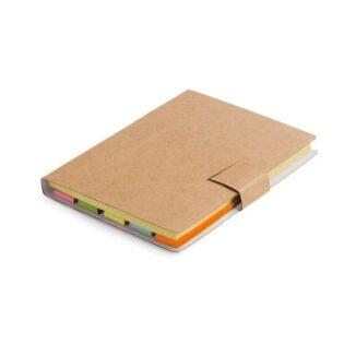 Bloco de notas adesivas com 7 conjuntos (25 folhas cada um dos conjuntos) e capa em cartão