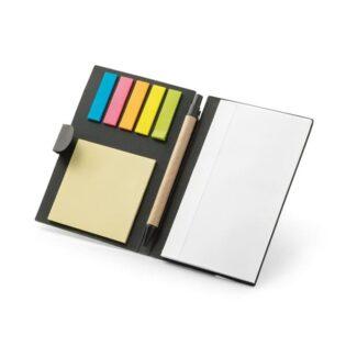 Bloco de notas adesivas com 6 conjuntos (25 folhas cada um dos conjuntos) e bloco de notas com 100 páginas lisas