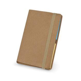 Bloco de notas adesivas coloridas com 6 conjuntos (22 folhas por cada conjunto) com compartimento para cartões e elástico