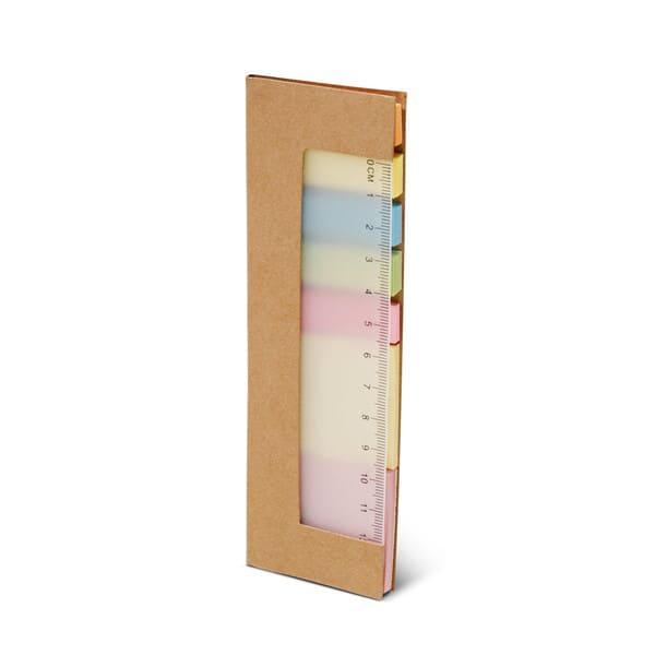 Bloco de notas adesivas com 7 conjuntos (25 folhas cada um dos conjuntos) e régua de 12 cm (escala impressa)