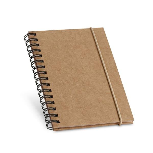 Bloco de notas de bolso espiral com 120 páginas pautadas de papel reciclado e capa rígida em cartão com elástico