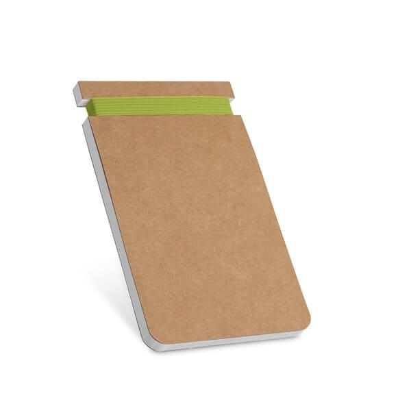 Contém 120 páginas lisas de papel reciclado e capa em cartão