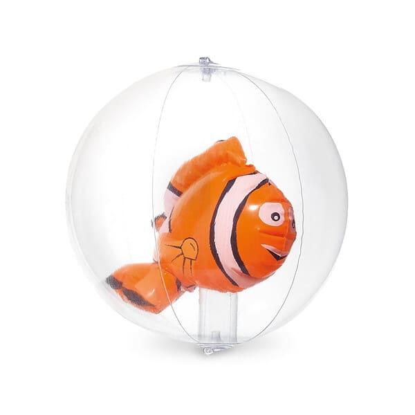 Bola de praia insuflável em PVC transparente com boneco insuflável no interior