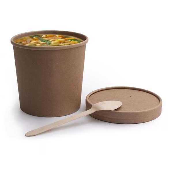 Recipiente descartável de cartão para servir líquidos quentes como sopas