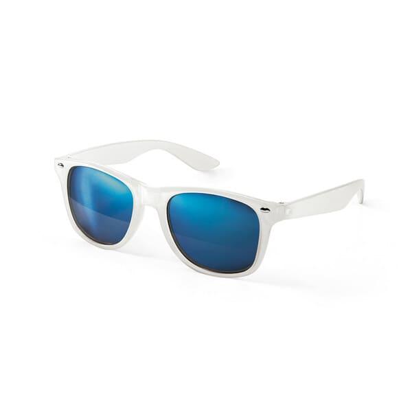 Óculos de sol em PC com lentes espelhadas, proteção 400 UV e armação translúcida