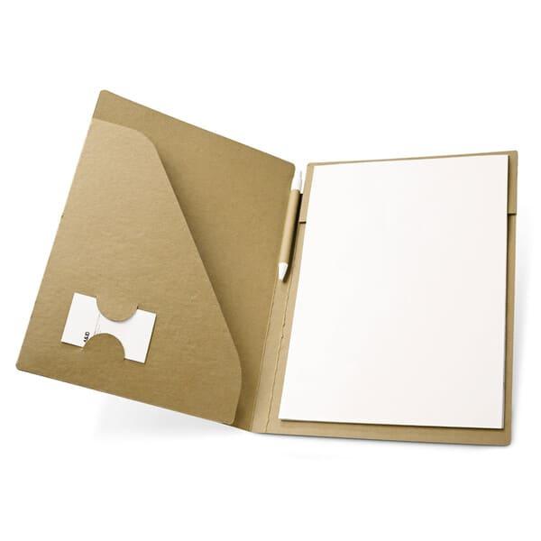 Pasta A4 em cartão (450 g/m²) com um bloco de 20 folhas lisas de papel reciclado