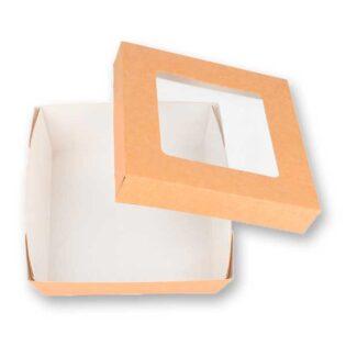 Caixas em cartolina kraft com tampa e janela de acetato ideais para takeaway