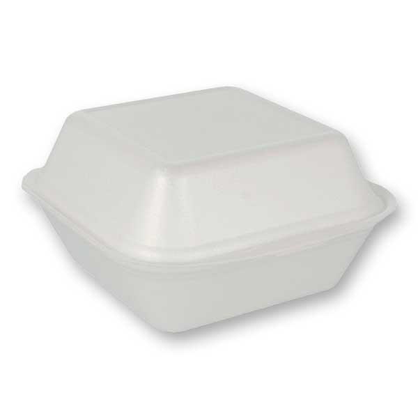 Caixas para hambúrguer em espuma disponíveis em preto e em branco