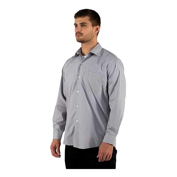 Camisas de manga comprida M/F com colarinho sem botões, bolso no peito e punhos com botões