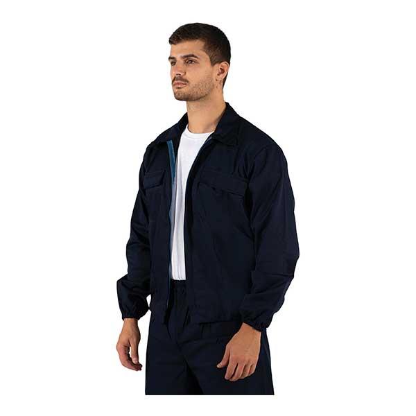 Os casacos em sarja estão disponíveis em cinza e azul marinho