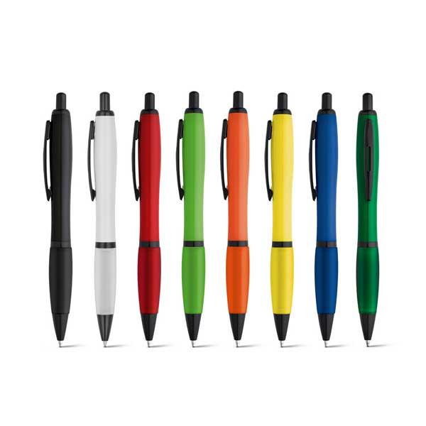 Esferográfica disponível em várias cores, com apontamentos em preto