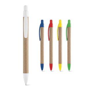 Esferográfica em papel kraft com clipe e escrita a azul
