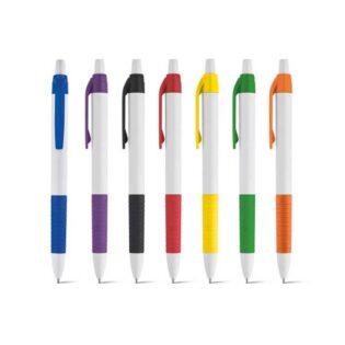 Esferográfica com clipe e antideslizante coloridos e escrita a azul