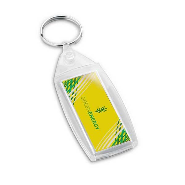 Porta-chaves em PS transparente com formato retangular