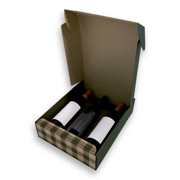 Caixa para garrafas com acabamento original em cartão microcanelado.
